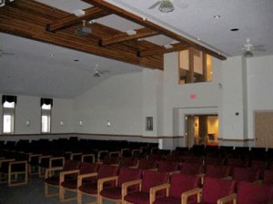 A sanctuary room with many chairs
