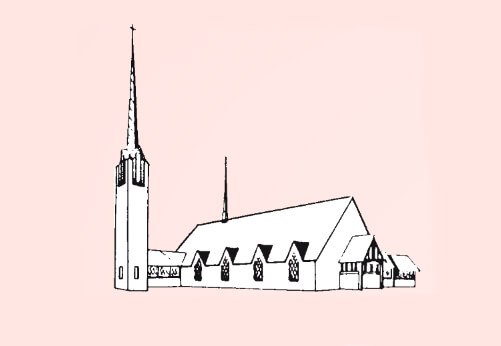A line drawing of the steeple at King's House